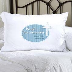 First Communion: Light of God Blue Pillow Case