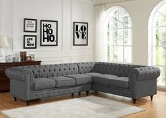This modern and unique design sofa set meets any decor in your home or office. Entertain within a regal atmosphere set by this elegant and extravagant sofa set. Bring comfort and style to your living area with this sectional sofa. This piece is designed in an L-shape which will provide enough seating for all your family members and is covered in a tufted, plush upholstery.