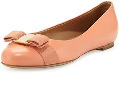Salvatore Ferragamo Varina Leather Ballet Flat, Rosa Corallo on shopstyle.com