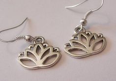 LOTUS FLOWER   Silver Charm Earrings #Unbranded