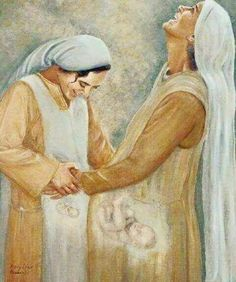 The visitation. Mary(& Jesus) and Elizabeth(&John.the baptist).I wish all mothers could see their babies like this picture portrays! Catholic Art, Catholic Saints, Religious Art, Image Jesus, Jesus Tattoo, Christian Pictures, Mama Mary, Blessed Mother Mary, Jesus Mother