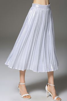 T&C.G Solid Color A-Line Pleated Skirt