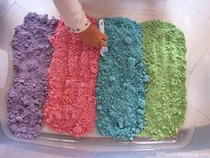 Learn how to make a colorful cloud dough recipe that is taste safe to enjoy with your toddler. With only 3 ingredients our cloud dough recipe is just what you are looking for! Great for sensory play! Cloud dough is also known as fairy dough! Toddler Play, Baby Play, Toddler Crafts, Crafts For Kids, Toddler Games, Fun Activities For Kids, Sensory Activities, Infant Activities, Preschool Activities