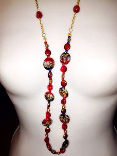 Red & Black Long Glass Bead Necklace on Etsy, $24.00