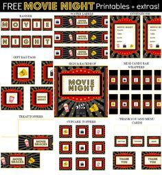 Free Movie Night Party Printables + extras! – Free Party Printables at Printabelle