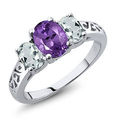 241 Ct Oval Amethyst and Sky Aquamarine Sterling Silver 3Stone Ring Available in size 5 6 7 8 9 >>> Read more  at the image link.Note:It is affiliate link to Amazon.