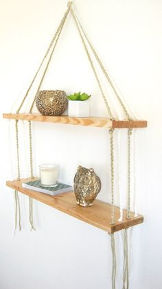 TWO-TIER MACRAME Shelf // Wood Macrame Shelf / by ModernTwist8