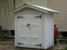 3'x6' freestanding Gable Shed with paired cypress beadboard doors