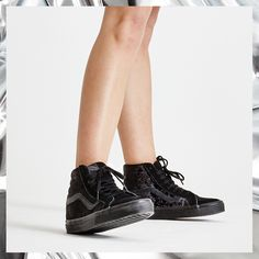 1edd799caf Vans Sk8 Hi Reissue Velvet Black Black - Hers trainers