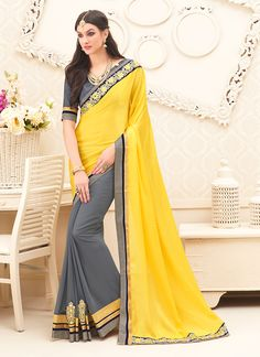 Trendy Georgette Yellow Color Embroidered Saree - Buy Online New Arrivals collection from Ananya Fashion