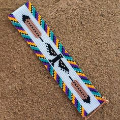This Thunderbird Rainbow Bead Loom bracelet was inspired by all the beautiful Native and Latin American patterns I see around me in Albuquerque, New