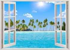 Fenêtre 3D autocollant mur de plage plage par 3DWindowWallStickers