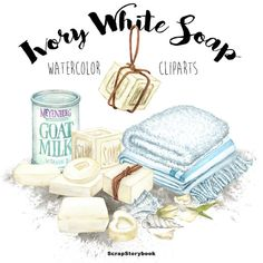 Ivory White Soap Cliparts - digital printable watercolor clipart - ivory color…
