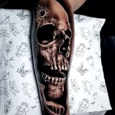 Black & Gray Realism Arm Tattoo Finest Image For couple tattoos buddies For Your Style You might be in search of. Evil Skull Tattoo, Skull Girl Tattoo, Skull Sleeve Tattoos, Skull Tattoo Design, Henna Tattoo Designs, Body Art Tattoos, Couple Tattoos, Tattoos For Guys, Bracelete Tattoo