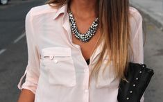 pink silk button down + black cami & necklace