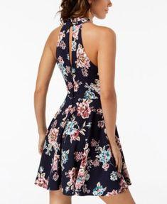abd1e4a79872 B Darlin Juniors' Printed Mock-Neck Crochet-Trim Fit & Flare Dress &  Reviews - Dresses - Juniors - Macy's