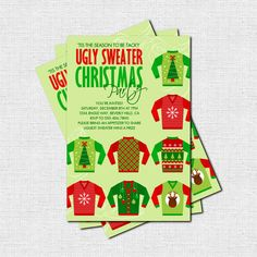 UGLY SWEATER Christmas Holiday Party INVITATION (printable) - 'Tis the season to be tacky!