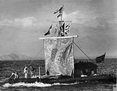 Thor Heyerdahl's 4,300 mile trip across the South Pacific on a raft made of balsa wood called the Kon Tiki.