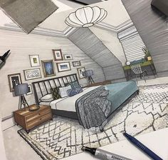 Textures! especially in the area rug Interior Sketch, Interior Architecture Drawing, Architecture Design, Interior Rendering, Interior Design Drawing, House Sketch, Drawing Sketches, Sketching, Arquitetura E Design