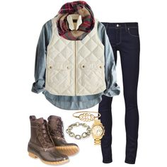 Vest and bean boots by thepinkcatapillar on Polyvore featuring Calypso St. Barth, J.Crew, Paige Denim, David Yurman, Michael Kors and L.L.Bean