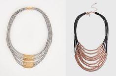 Na foto (zleva): Šedivý náhrdelník z hedvábných nití a se zlatými kovovými korálky, Reserved, 199 Kč. Černo-zlatý náhrdelník, Topshop, 499 Kč; archiv firem