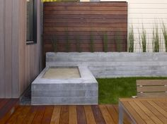wood and cement and grass