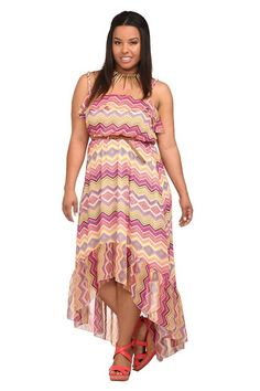 84222078bec Multi Zigzag Chiffon Hi-Lo Dress