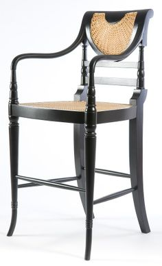 Raffle Bar Stool. A high bar stool influenced by the colonial era at the turn of the 20th Century, characterised by the rattan seat and bamboo style legs.  Available painted or polished in any colour and upholstered in any fabric.