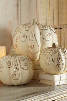 Bedazzled pumpkin center pieces!