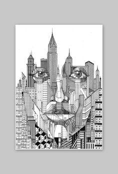 Doodle Art Drawing, Dark Art Drawings, Pencil Art Drawings, Art Drawings Sketches, City Drawing, Mandala Art Lesson, Mandala Artwork, Architecture Concept Drawings, Doodle Art Designs