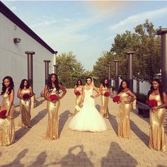 Presents The Hottest Bridesmaids Style This Season! Check Out Sparkly, Sequinned Bridesmaids Styles To Love Nigerian Wedding Presents The Hottest Bridesmaids Style This Season! Check Out Sparkly, Sequinned Bridesmaids Style. Gold Bridesmaids, Bridesmaid Dresses, Wedding Dresses, Perfect Wedding, Dream Wedding, Wedding Day, Gold Wedding, Wedding Things, Wedding Stuff