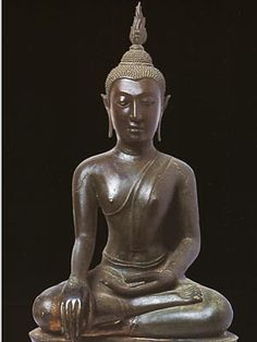 Sitting Buddha with the Gesture of Subduing Mara. In the style of U Thong, later period, showing influence of Sukhothai art. (16th century A.D.)   National Museum Prachinburi