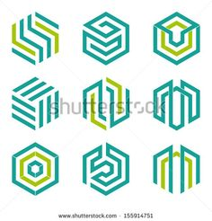 Company vector logo design elements. Set of nine abstract hexagon shaped vector symbols. - stock vector