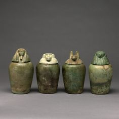 Calcite canopic jar of Neskhons; painted wooden lid ...
