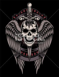 Winged Skull With Sword Stuck Royalty Free Stock Vector Art Illustration