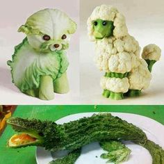 Cute Food Art of veggiesFruit and Vegetable Artthis is a picture of vegetable animalsHave you ever tried to get crafty with your food? Cake and chocolate are one popular medium, but there is another level of difficulty with fruits and veggies that ar Veggie Art, Fruit And Vegetable Carving, Veggie Food, Cute Food Art, Creative Food Art, Fruit Animals, Vegetable Animals, Animal Food, Green Animals