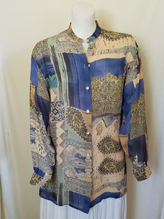 Womens Top Tunic L? Mandarin Collar Button Down Long Sleeves Blue Beige Floral #Como #Tunic #Career