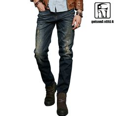 43.02$  Buy now - http://aliaya.worldwells.pw/go.php?t=32603580175 - ALA MASTER Clothing Warm Men Designer Jeans Pants Mid Waist Straight Type Destroyed Biker Jeans 158039