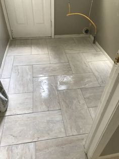Travertino Grey Ceramic Floor Tile - 12 x 24 in - The Tile Shop . Best Picture For floor tile ideas For Your Taste You are looking for something, and it i Ceramic Floor Tiles, Bathroom Floor Tiles, Ceramic Flooring, Entryway Tile Floor, Luxury Vinyl Tile Flooring, White Flooring, Grey Floor Tiles, Terrazzo Flooring, Cork Flooring