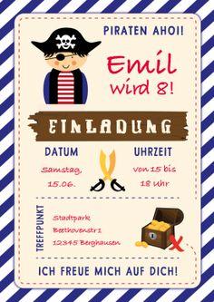 Lustige Einladung zum Kindergeburtstag für kleine Piraten oder zur Schatzsuche #Kindergeburtstag#personalisierteEinladung #Pirat #Schatzkiste#Geburtstag#Einladung#EinladungGeburtstag.de