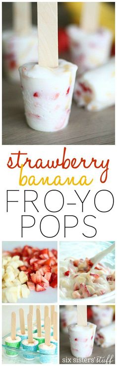 ^^ Strawberry Banana Frozen Yogurt Pops from SixSistersStuff.com | Your kids will love this simple, healthy after school snack!