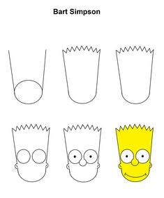 Bart Simpson step-by-step tutorial. Bart Simpson step-by-step tutorial. Simpsons Drawings, Easy Cartoon Drawings, Easy Drawings For Kids, Disney Drawings, Trippy Drawings, Cool Art Drawings, Pencil Art Drawings, Drawing Sketches, Drawing Ideas