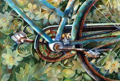 Suzy 'Pal' Powell Watercolors Collages and Sketches Bicycle Art, Bike, Watercolor Paintings, Watercolours, Suzy, Original Art, My Arts, Collage, Sketches