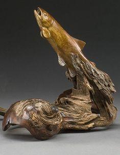 "Christopher White ~ ""Navigating the Currents"" ~ Bois Wood Carving Art, Bone Carving, Wood Carvings, Fish Sculpture, Wood Sculpture, Deer Antler Crafts, Fish Artwork, Got Wood, Driftwood Art"