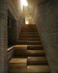 A mews house with protruding brickwork added to an existing Victorian home in Dublin, Ireland. Interior Staircase, Staircase Design, Timber Staircase, House Staircase, Mews House, House 2, Stair Steps, Stair Railing, Architecture Details