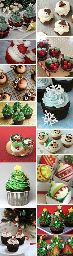 13 clever (and easy) Christmas cupcake decorating ideas-how to decorate Christma. - 13 clever (and easy) Christmas cupcake decorating ideas-how to decorate Christmas cupcakes – www. Christmas Snacks, Xmas Food, Christmas Cooking, Noel Christmas, Christmas Goodies, Holiday Treats, Simple Christmas, Party Treats, Amazon Christmas