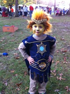 They don't make Chima costumes yet, so I made one since L wouldn't change his mind. Bought the wig and crown.