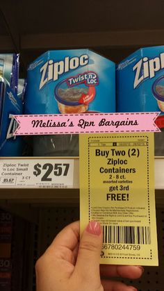 Melissa's Coupon Bargains: HEB~ Ziploc Containers 2-8ct. $1.21ea.