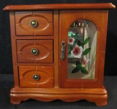 Wooden Jewelry Box With 3 Drawers And Glass Door Pink Flower On Door