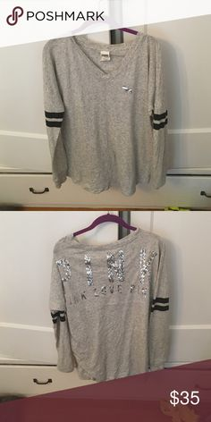 PINK long sleeve light gray shirt size s PINK long sleeve light gray shirt size s with glitter sequins in back worn twice PINK Victoria's Secret Tops Tees - Long Sleeve